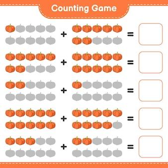 Telspel, tel het aantal pompoenen en schrijf het resultaat. educatief spel voor kinderen, afdrukbaar werkblad