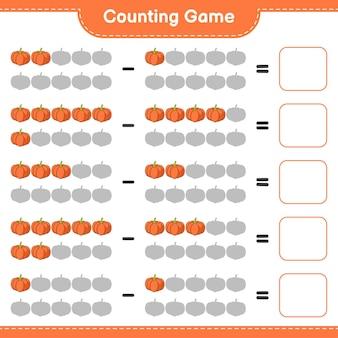 Telspel, tel het aantal pompoenen en schrijf het resultaat op. educatief spel voor kinderen, afdrukbaar werkblad