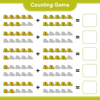 Telspel, tel het aantal slippers en schrijf het resultaat op. educatief spel voor kinderen, afdrukbaar werkblad