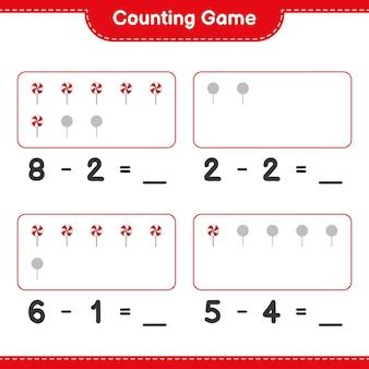 Telspel tel het aantal snoepjes en schrijf het resultaat educatief kinderspel