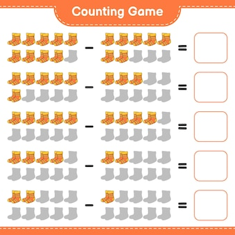 Telspel, tel het aantal sokken en schrijf het resultaat op. educatief spel voor kinderen, afdrukbaar werkblad