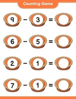 Telspel, tel het aantal taarten en schrijf het resultaat op. educatief spel voor kinderen, afdrukbaar werkblad