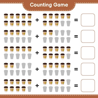 Telspel, tel het aantal theekopjes en schrijf het resultaat. educatief spel voor kinderen, afdrukbaar werkblad