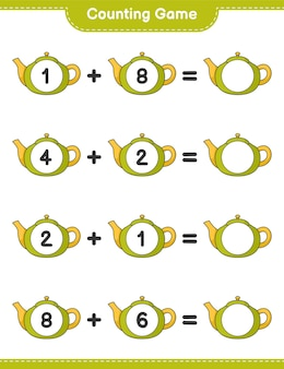 Telspel, tel het aantal theepotten en schrijf het resultaat. educatief spel voor kinderen, afdrukbaar werkblad
