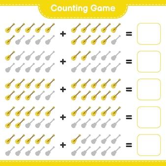 Telspel tel het aantal ukelele en schrijf het resultaat educatief kinderspel
