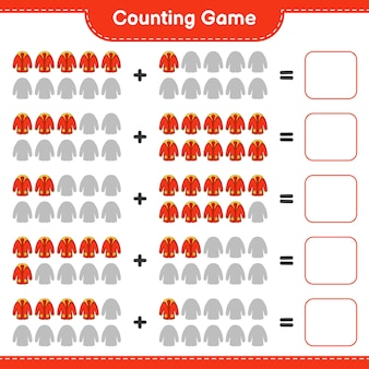 Telspel, tel het aantal warme kleren en schrijf het resultaat op. educatief spel voor kinderen, afdrukbaar werkblad