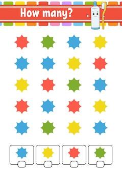 Telspel voor kinderen. blije karakters. wiskunde leren. hoeveel objecten op de foto.