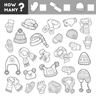 Telspel voor kinderen educatief een wiskundig hoeveelspel sjaals wanten en mutsen