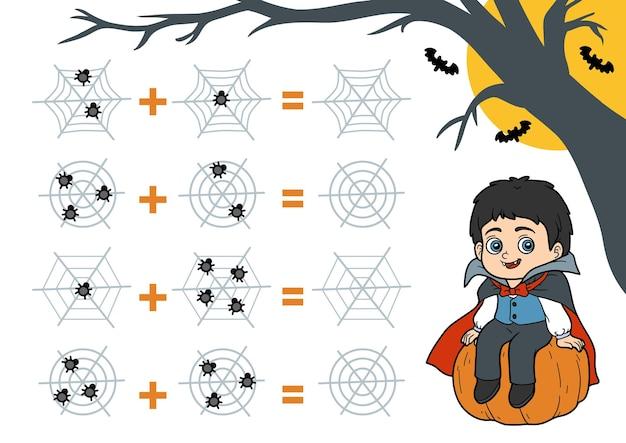 Telspel voor kinderen halloween-personages vampier tel de cijfers op de afbeelding