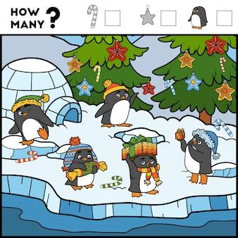 Telspel voor kinderen tel hoeveel items en schrijf het resultaat pinguïns en achtergrond