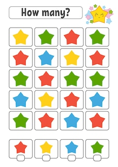 Telspel voor kinderen. vrolijke karakters. leren wiskundecartoon stijl.