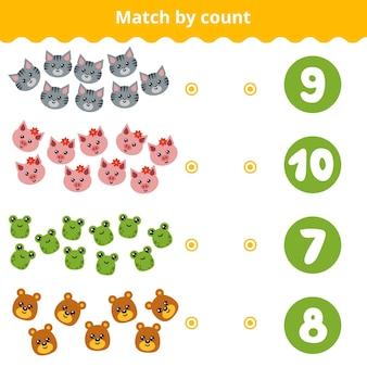 Telspel voor kleuters. educatief een wiskundig spel. tel de dieren op de foto en kies het juiste antwoord
