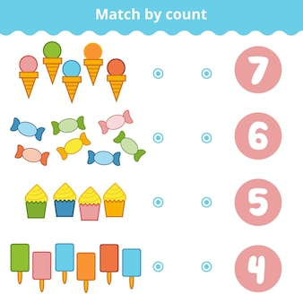 Telspel voor kleuters. educatief een wiskundig spel. tel de items in de afbeelding en kies het juiste antwoord. set van snoep