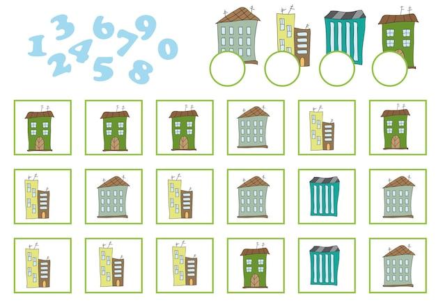 Telspel voor kleuters. educatief een wiskundig spel. tel hoeveel en schrijf het resultaat