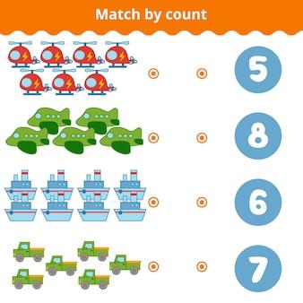 Telspel voor kleuters educatief een wiskundig spel transportobjecten