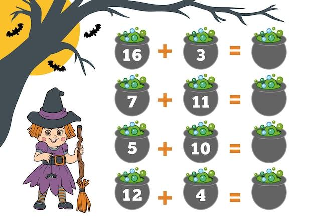 Telspel voor kleuters halloween-personages heks tel de cijfers op de afbeelding