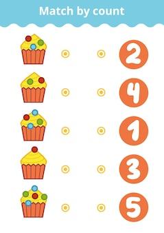 Telspel voor kleuters tel de bessen op de taarten en kies het juiste antwoord
