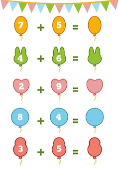 Telspel voor kleuters tel de getallen op de afbeelding en schrijf het resultaat op