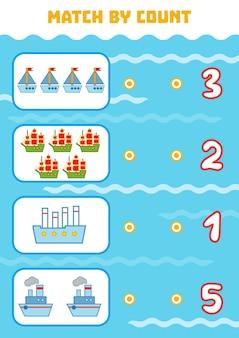 Telspel voor kleuters tel de schepen in de afbeelding en kies het juiste antwoord
