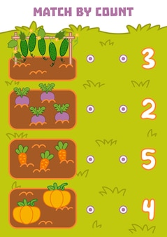Telspel voor kleuters tel groenten op de foto en kies het juiste antwoord