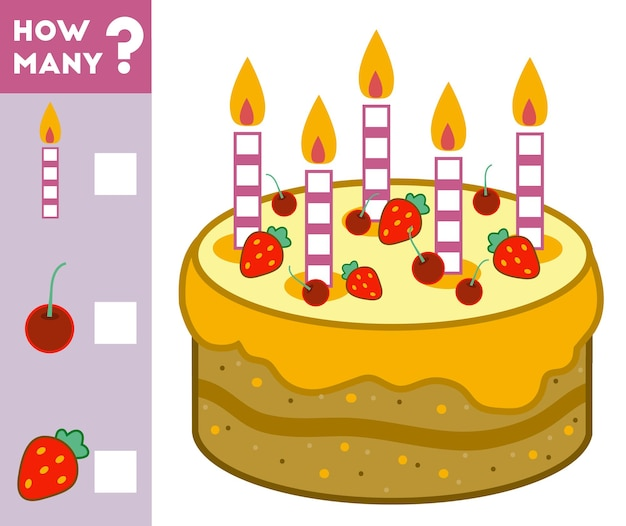 Telspel voor kleuters tel hoeveel cake-ingrediënten en schrijf het resultaat