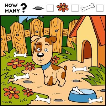 Telspel voor kleuters tel hoeveel items en schrijf het resultaat hond en achtergrond