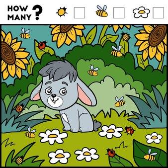 Telspel voor kleuters tel hoeveel items en schrijf het resultaat konijn en achtergrond