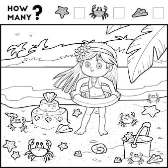 Telspel voor kleuters tel hoeveel items en schrijf het resultaat meisje en achtergrond