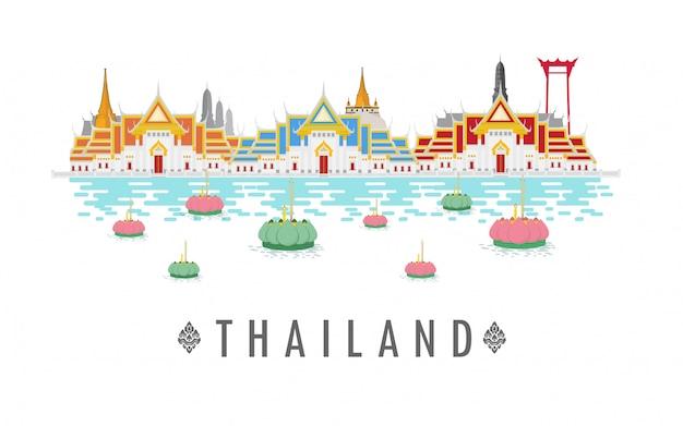 Tempel in thailand en oriëntatiepunten en reisplaats.