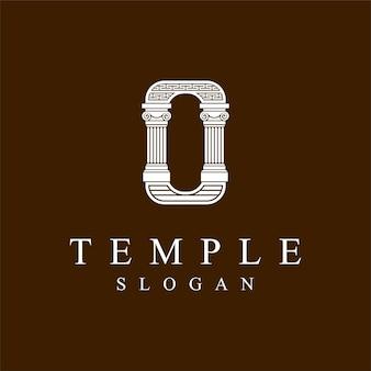Tempel logo met letter o concept
