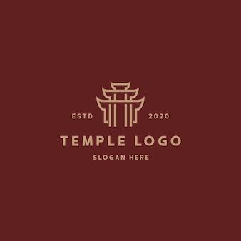 Tempel logo retro vintage ontwerpsjabloon