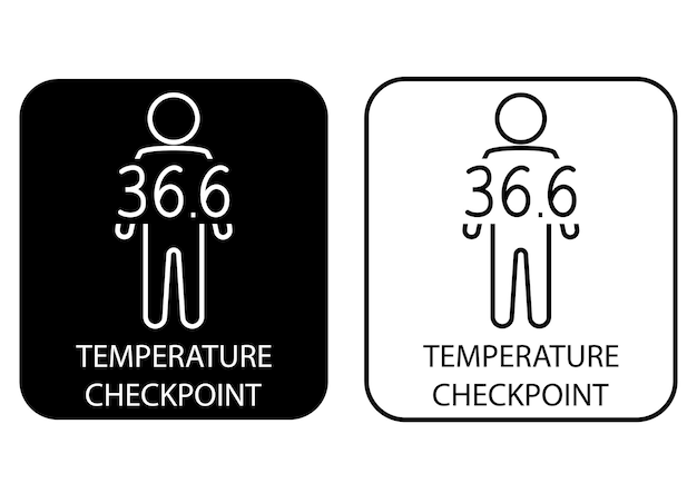 Temperatuur scannen. controleer de poster van de menselijke lichaamstemperatuur. checkpoint of station voor het meten van koorts. het kan worden gebruikt in het treinstation, de luchthaven of andere openbare plaatsen. vector illustratie