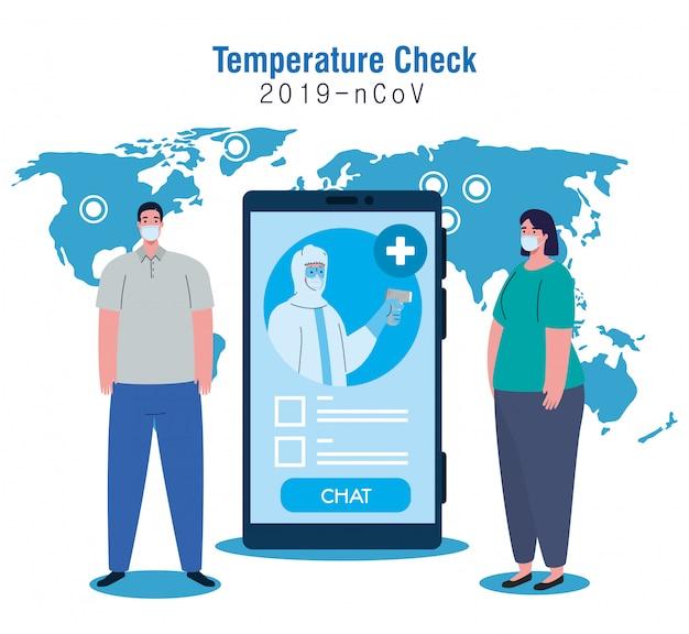 Temperatuurcontrole door contactloze thermometer en smartphone, controle van nieuwe technologie, mensen in test