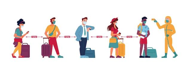 Temperatuurcontrole sociale afstand wachtrij van mensen op de luchthavenlijn