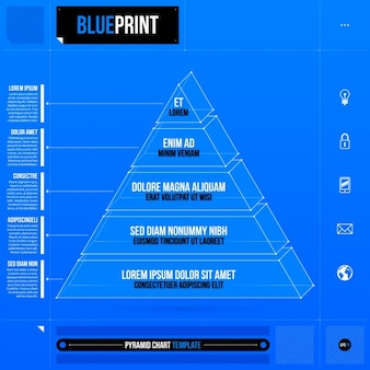 Template blue infographic pyramid