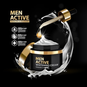 Template whitening cream pakketontwerp voor mannen