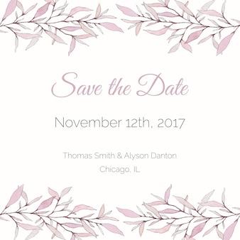 Tender roze waterverf sla de datumkaart op