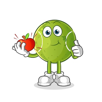 Tennis dat een appelillustratie eet. karakter