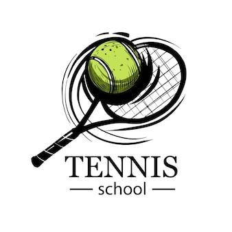 Tennis embleem. tennisracket. tennisbal. tennisclub, tennisschool, toernooi. logo ontwerp.