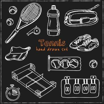Tennis hand getrokken doodle set