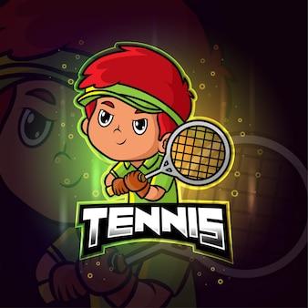 Tennis mascotte esport kleurrijk logo