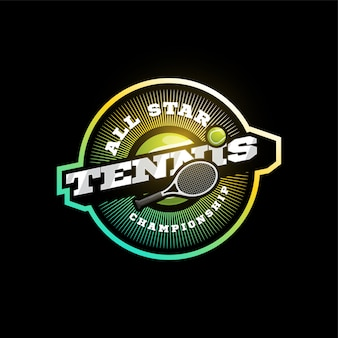 Tennis moderne professionele sport typografie logo in retro stijl. ontwerp embleem, badge en sportief sjabloon logo ontwerp