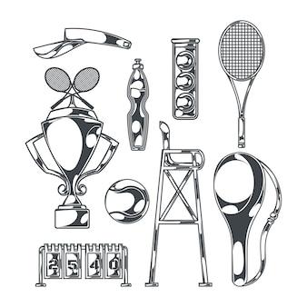 Tennis set met geïsoleerde zwart-wit afbeeldingen van sportartikelen met rackets en beker