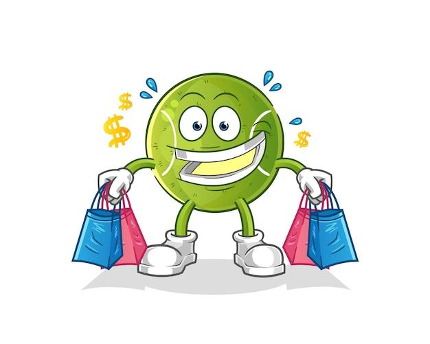 Tennis shoping mascotte. tekenfilm