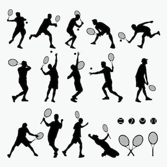 Tennis silhouet Premium Vector