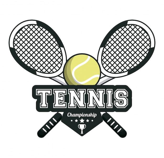 Tennis sport rackets gekruiste bal embleem afbeelding