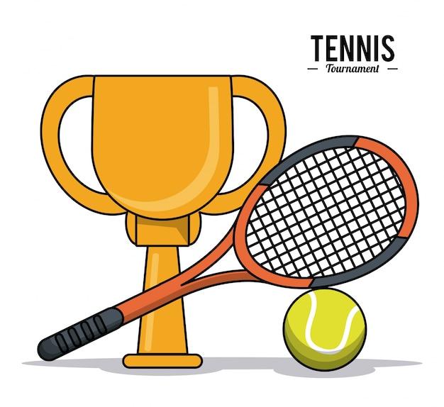 Tennis sport trofee bal racket beeld
