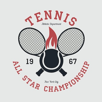 Tennis sportkleding met racket en vurige bal new york all star kampioenschap