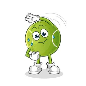 Tennis uitrekkende karakter. cartoon mascotte