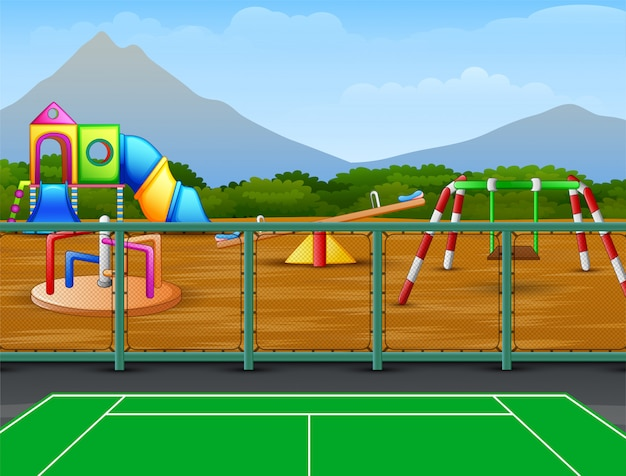 Tennisbaan met kinderen speeltuin achtergrond